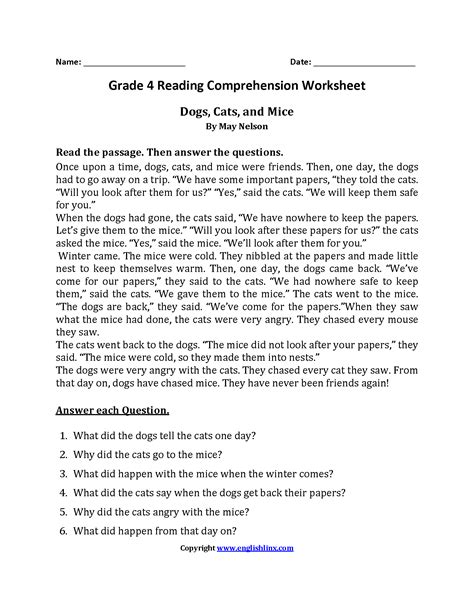 4th grade reading comprehension worksheets with questions