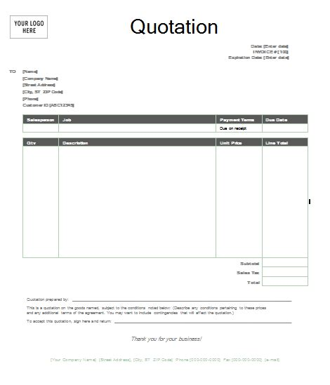 Free Quote Template by Quotation Template Format Template