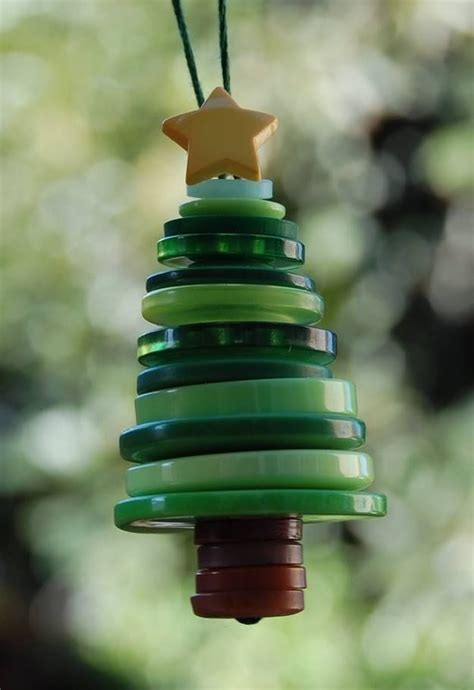 cute diy button christmas tree ornament pictures