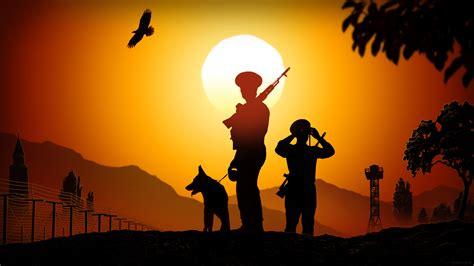 sunset soldier military weapon gun wallpaper