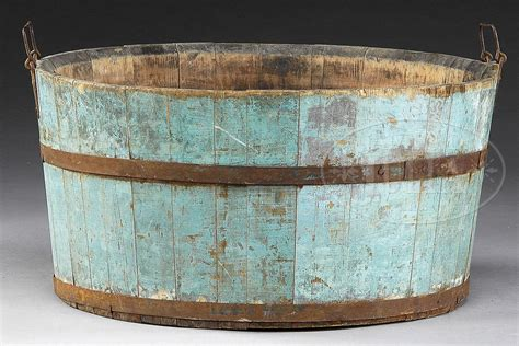 Shaker Wash Tub In Blue Paint. This Would Look Great In A