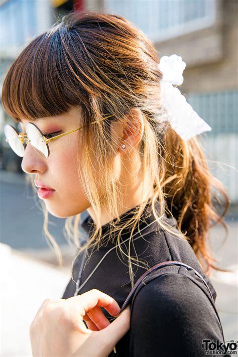 harajuku girl  hakusan megane glasses turtleneck coach bag vintage skirt oxfords
