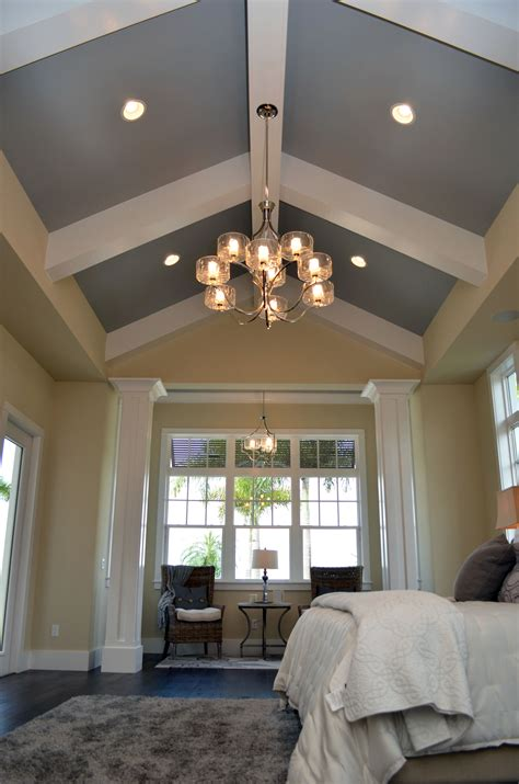 vaulted ceiling master bedroom beam gray wall