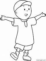 Caillou Coloring Printable Cartoon Easy His Boy Arms Toys Four sketch template