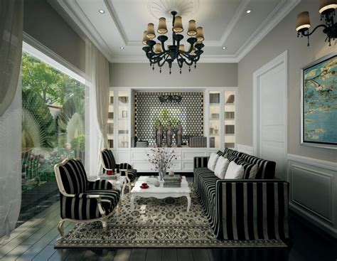 Dramatic black and white living with chandelier Interior