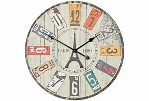 Vintage Wanduhr Xxl : wohnling deko vintage wanduhr xxl 60 cm paris materialmix holz metall gro e uhr rustikal ~ Whattoseeinmadrid.com Haus und Dekorationen