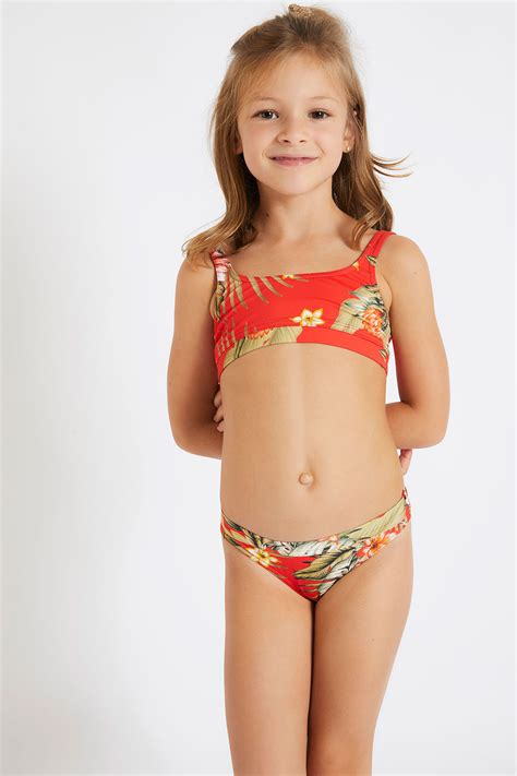 childrens red  piece swimsuit cartoon waimea
