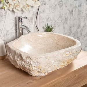 Grande Vasque Salle De Bain : vasque poser en marbre roc ronde cr me l 45 55 cm ~ Teatrodelosmanantiales.com Idées de Décoration