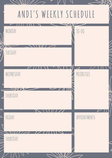 weekly schedule planner template   weekly