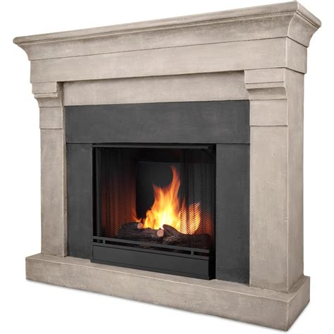 real flame torrence 50 inch gel fireplace with mantel cinder stone shopperschoice com