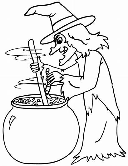 Halloween Witch Cauldron Pot Coloring Template Drawing