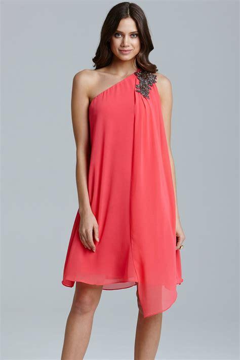 Drape Dress With One Shoulder - coral one shoulder drape dress