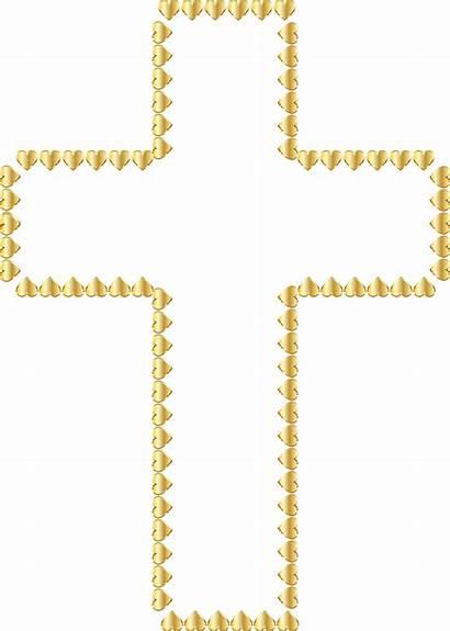Cross Transparent Background Clipart Hearts Golden Gold
