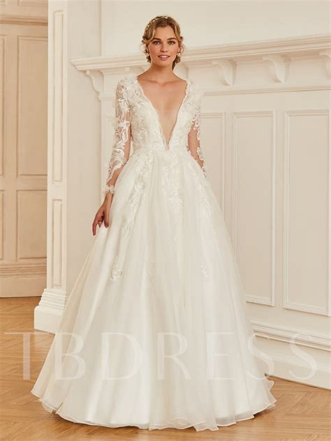 deep  neck appliques long sleeve wedding dress tbdresscom