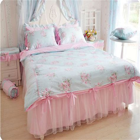 black and white bedskirt bedding set flower print duvet cover ruffle lace