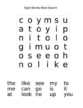 sight word word search by falvey teachers pay teachers