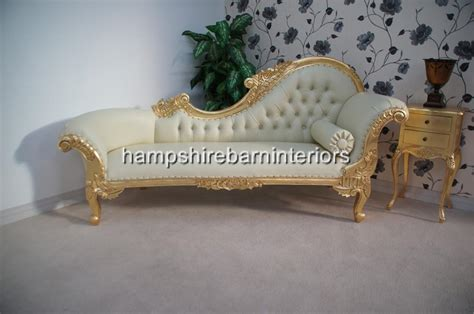 Ornate Chaise Longue Large Gold Cream Faux Leather Lounge