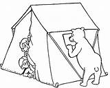 Coloring Camping Pages Tent Printable Bear sketch template