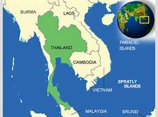 Map of Thailand Terrain, area and outline maps of
