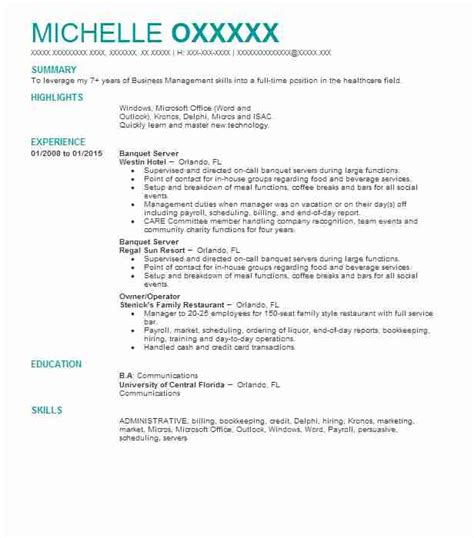 Banquet Server Resume by Banquet Server Resume Sle Resumes Misc Livecareer