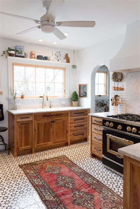 patterned tile floor modern tudor kitchen terrace