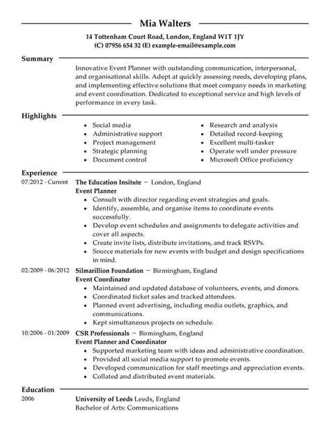 Event Coordinator Resume by Best Event Planner Resume Exle Livecareer