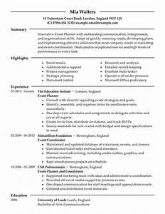 best event planner resume example livecareer With event planner resume