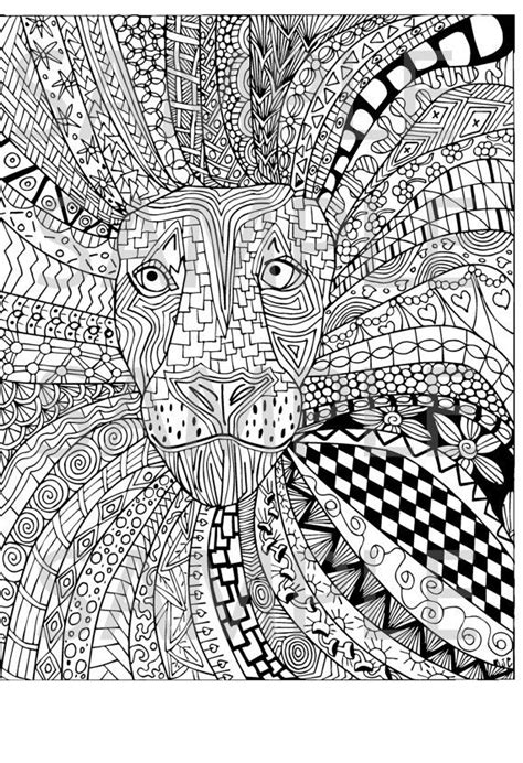 lion zentangle adult coloring page instant