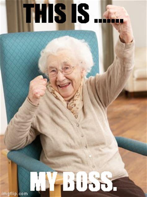 Old Woman Meme - old woman cheering imgflip