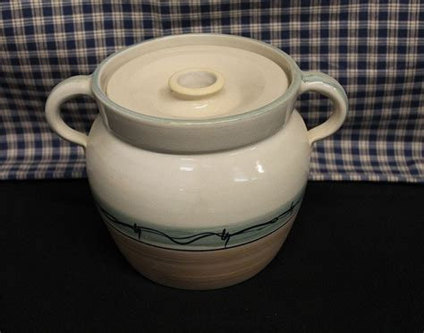 usa  pottery baked bean stew stoneware cooking crock
