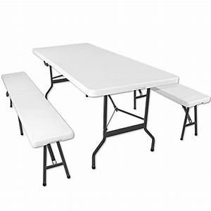 Table Jardin Pliable : ensemble table pliante et 2 bancs jardin pliables camping buffet trait ~ Teatrodelosmanantiales.com Idées de Décoration
