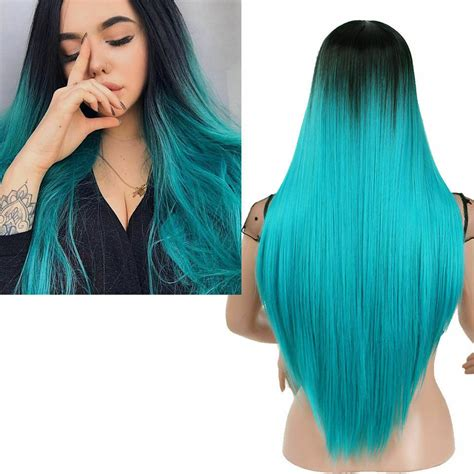 Women Long Straight Synthetic Wig Black Root Ombre Blue