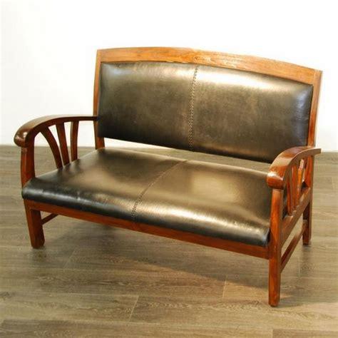 canapé teck canapé sofa teck et croûte de cuir 2 places