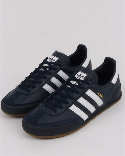 Adidas Jeans Trainers Navy, white, leather   80s casual ...