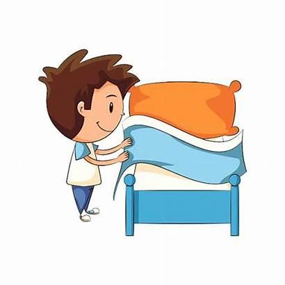 Bed Clipart Making Child Clip Vector Illustration