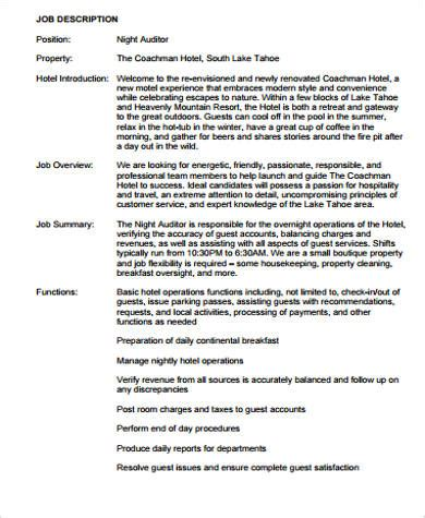 night auditor job description sample  examples  word