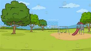 A Park With Slide And Swings Background Cartoon Clipart ...