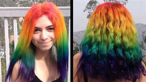 How To Dye Your Hair Rainbow Youtube