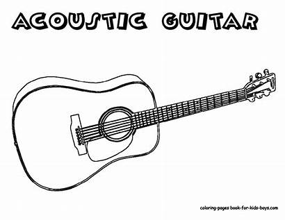 Guitar Coloring Pages Acoustic Printable Musical Instrument