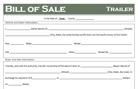 bill of sale form texas pdf free texas trailer bill of sale template off road freedom