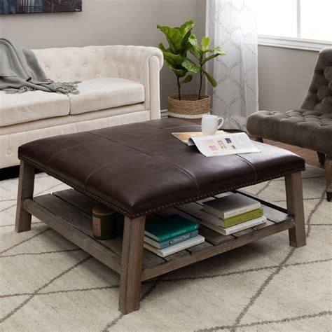 Great deal furniture avalon espresso brown leather ottoman coffee table. 40+ Brown Leather Ottoman Coffee Tables With Storages | Coffee Table Ideas