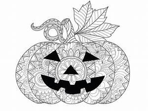 Citrouille D Halloween Dessin : coloriage d 39 halloween la citrouille mandala ~ Nature-et-papiers.com Idées de Décoration