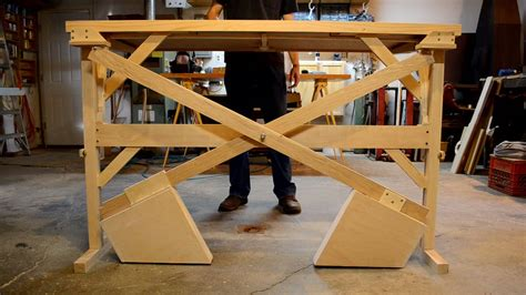wooden counterweight desk or table