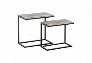 Table D Appoint Metal : set de table d 39 appoint industriel m tal et bois vieilli vical home ~ Teatrodelosmanantiales.com Idées de Décoration
