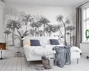 Papier Peint Arbre Noir Et Blanc : personnalis de papier peint noir et blanc croquis tropical for t tropicale de noix de coco ~ Nature-et-papiers.com Idées de Décoration