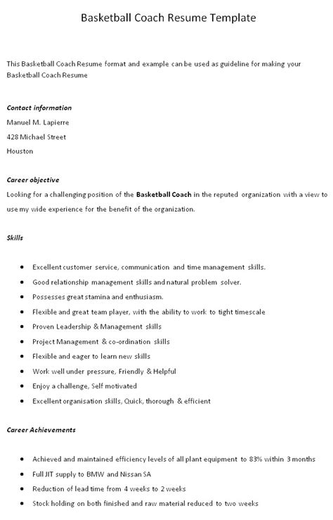 basketball coaching resume templates basketball coach resume newhairstylesformen2014