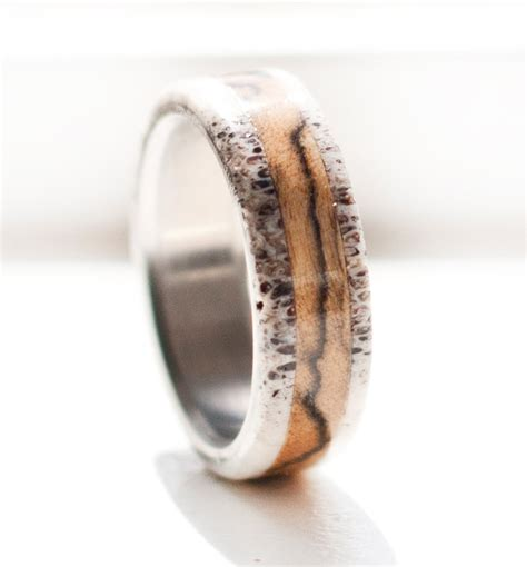 s wedding band spalted maple and antler ring