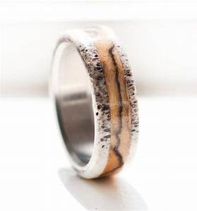 men39s wedding band spalted maple and antler ring With antler wedding rings