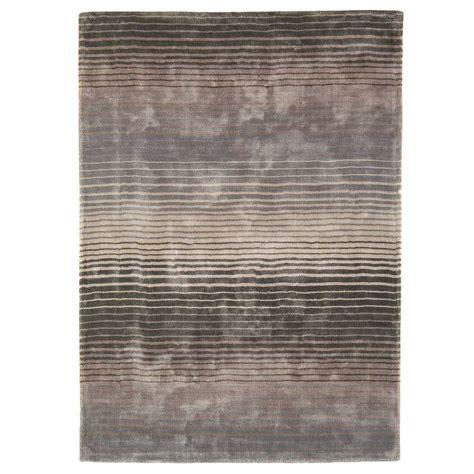 tapis contemporain taupe et gris 233 en viscose fait