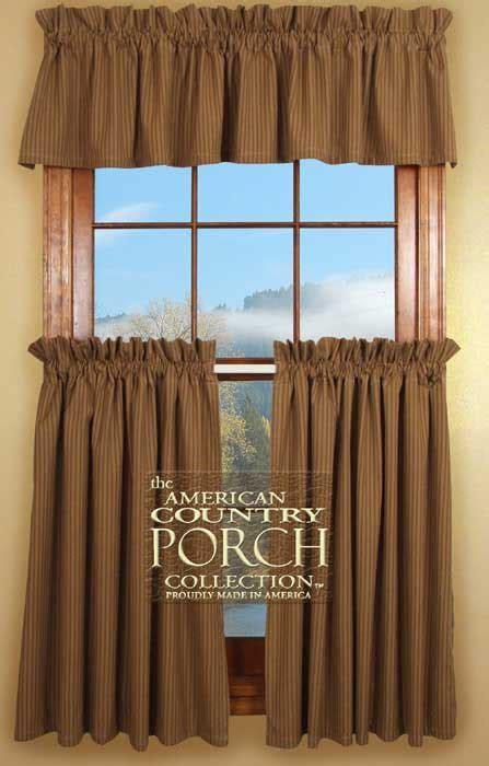Cottage Brown Stripe Curtain Valances
